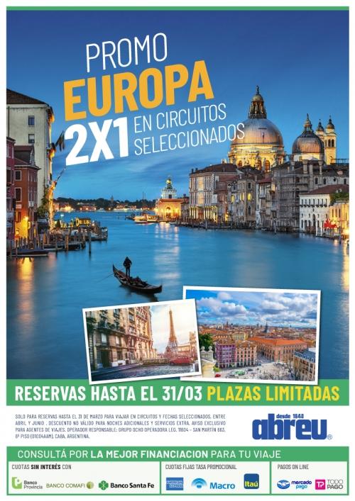 Europa Promo 2X1 en Circuitos Seleccionados