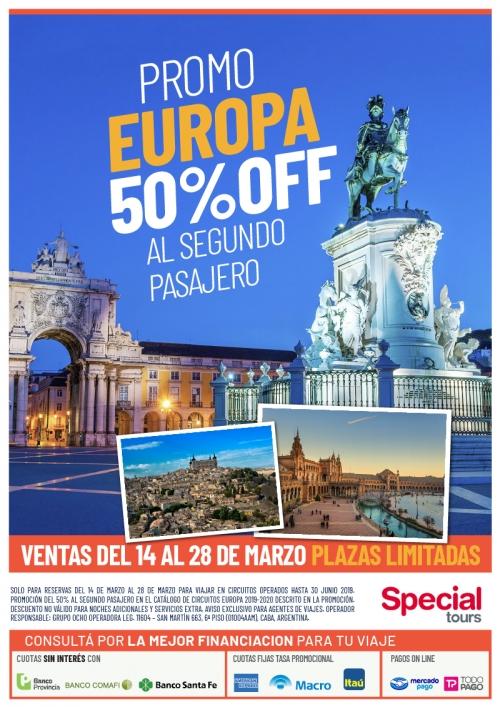 Europa Promo 50% OFF al 2do pasajero
