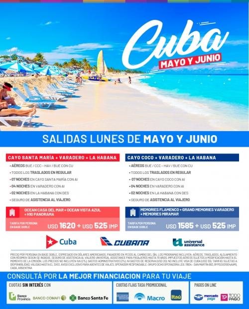 Cuba Salidas en Mayo y Junio