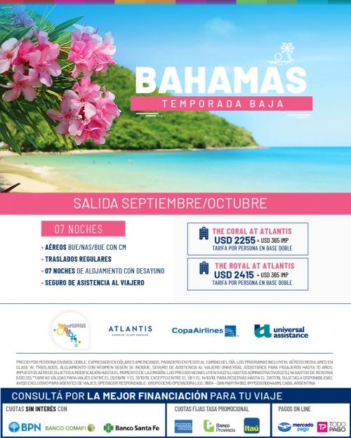 Bahamas salidas en Septiembre y Octubre