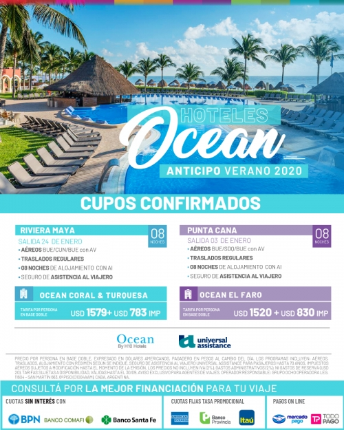 Caribe Verano 2020 Cupos OK con hoteles Ocean