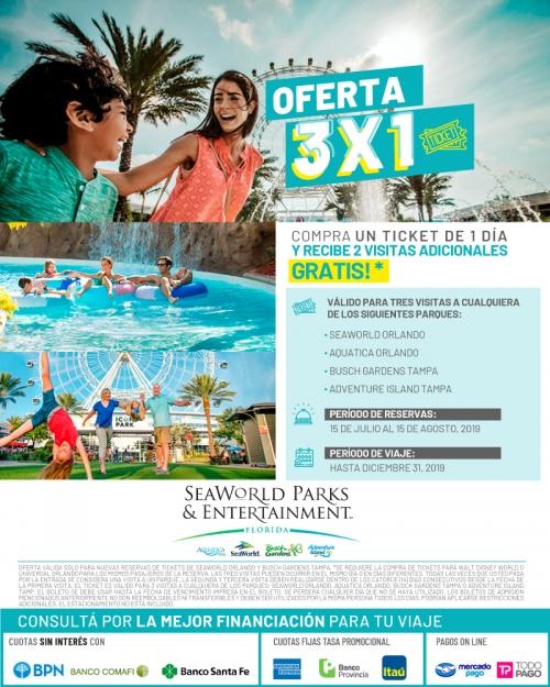 3x1 en SeaWorld Parks & Entertainment