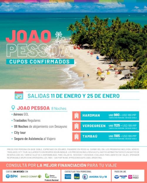 Joao Pessoa Verano 2020 Salidas Confirmadas