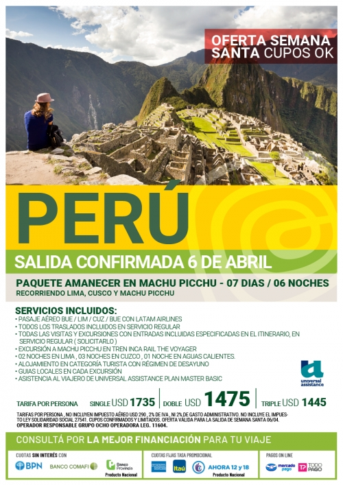 Perú Semana Santa Cupos Ok