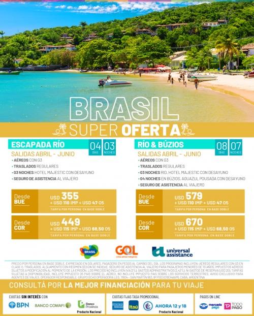 Brasil de Abril a Junio en Super Oferta