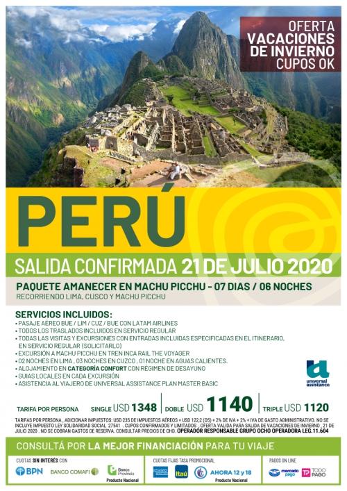 Perú Vacaciones de Invierno Cupos Ok