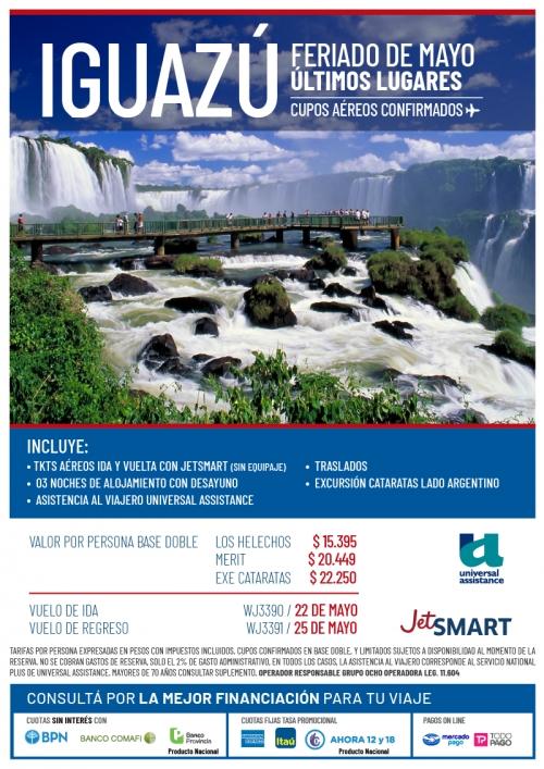 Iguazú Feriado de Mayo últimos lugares con Cupos Ok