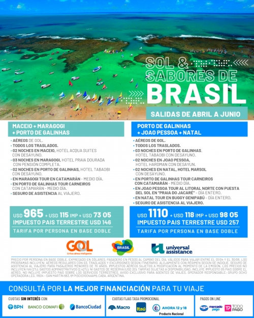 Sol y Sabores de Brasil Salidas de Abril a Junio