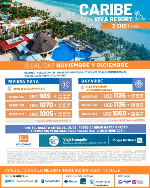 Caribe con VIVA Resorts y tarifas FLEXIBLES