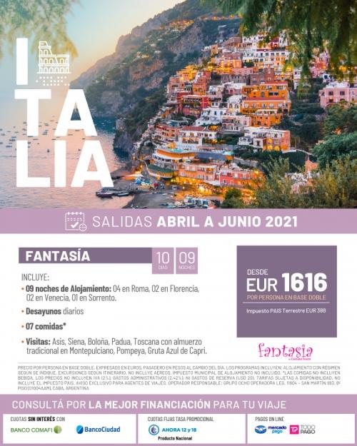 Italia Tour Fantasía Salidas de Abril a Junio 2021