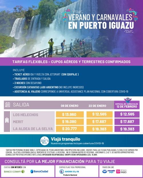 Verano y Carnavales en Iguazú Cupos Ok y tarifas FLEXIBLES