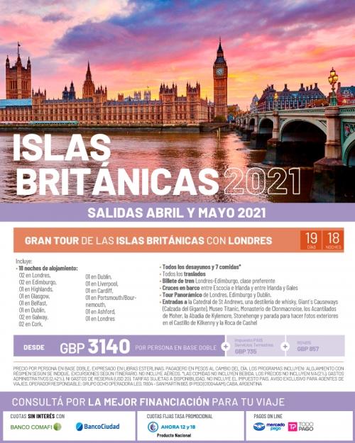 Gran Tour Islas Británicas + Londres salidas en Abril y Mayo