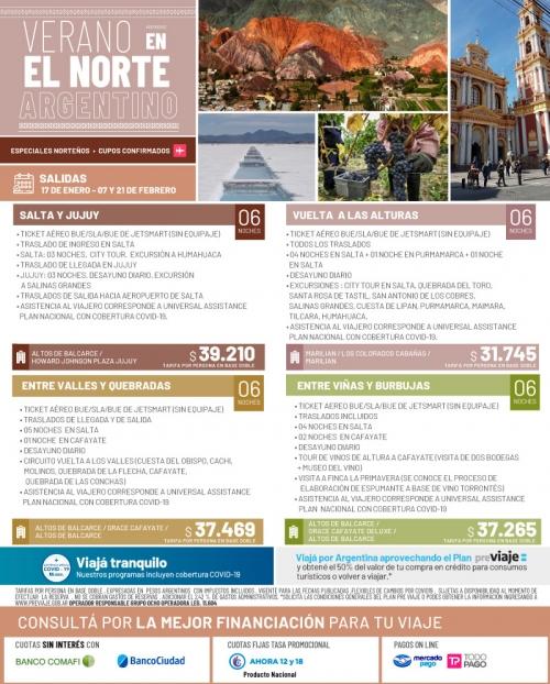 Verano en el Norte Argentino Cupos Ok y tarifas FLEXIBLES