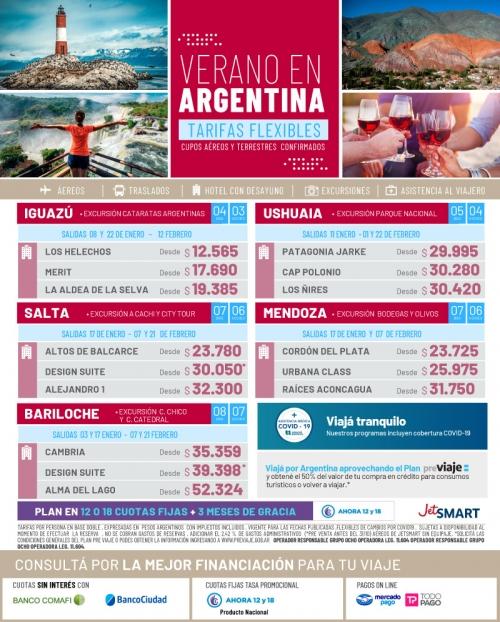 Argentina Verano 2021 Cupos Ok y Tarifas FLEXIBLES