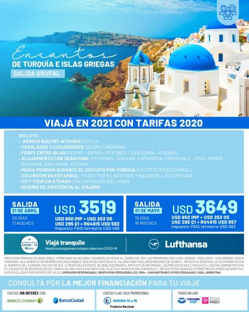Turquía + Islas Griegas salidas en 2021 con tarifas 2020
