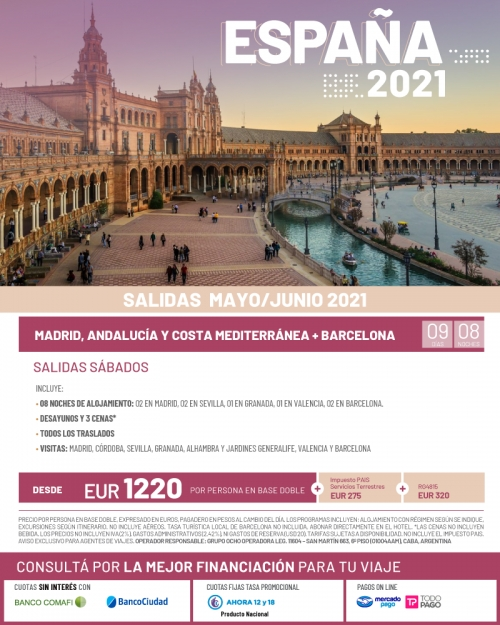 España 2021 Salidas en Mayo y Junio