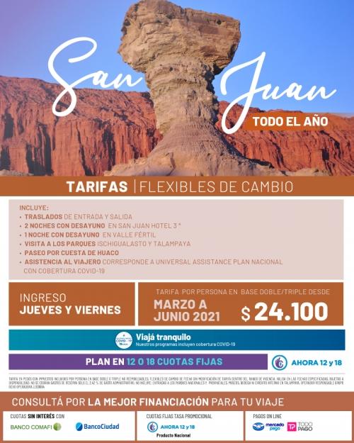 San Juan promo Marzo a Junio con tarifa FLEXIBLE