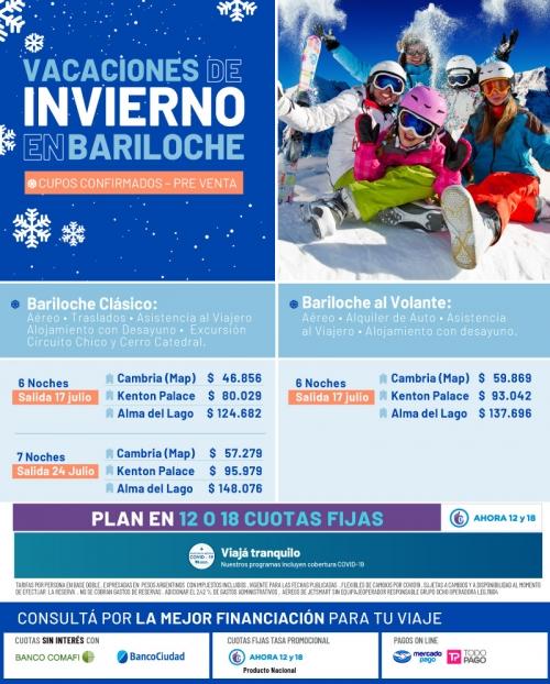 Vacaciones de Invierno en Bariloche con Cupos Ok