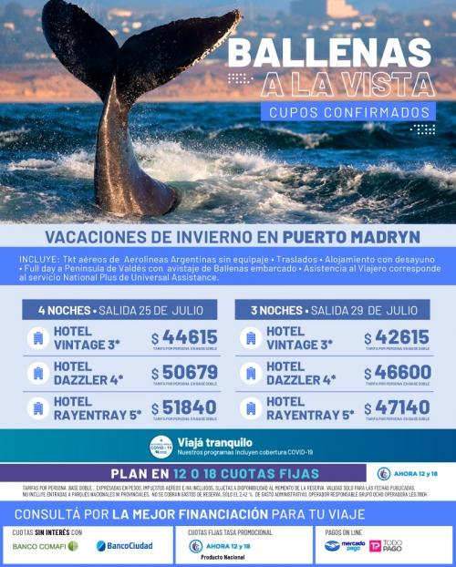 Vacaciones de Invierno en Puerto Madryn con Cupos Ok