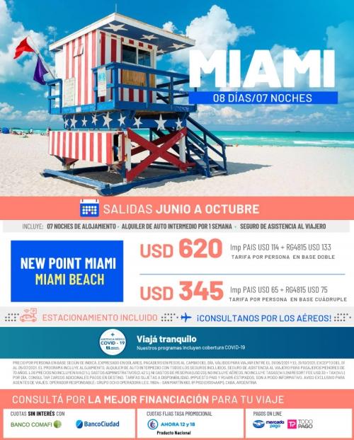 Miami 2021 salidas en promoción de Junio a Octubre