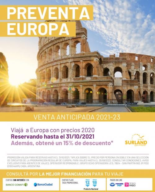 Pre-venta Europa 15% OFF con Surland