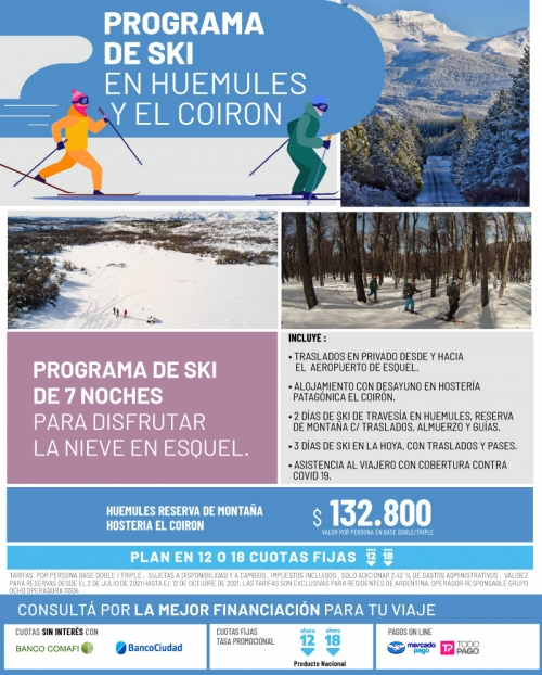Programa de SKI en Huemules y El Coiron