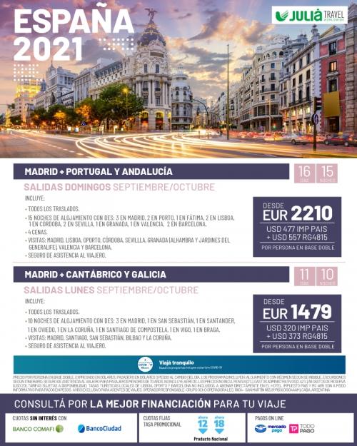 España 2021 salidas Septiembre y Octubre
