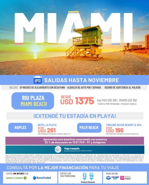 Miami 2021 salidas hasta Noviembre