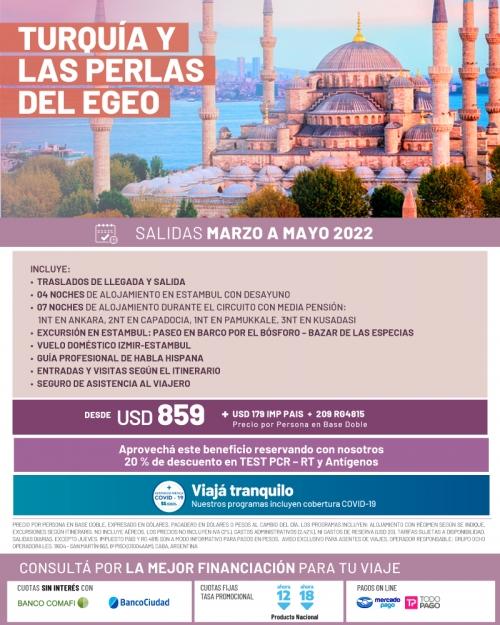 Turquía y las Perlas del Egeo salidas Marzo a Mayo 2022