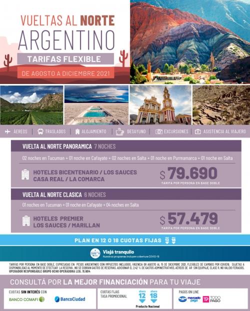 Vueltas al Norte Argentino promociones FLEXIBLES