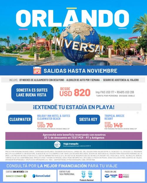 Orlando Promoción con salidas hasta Noviembre