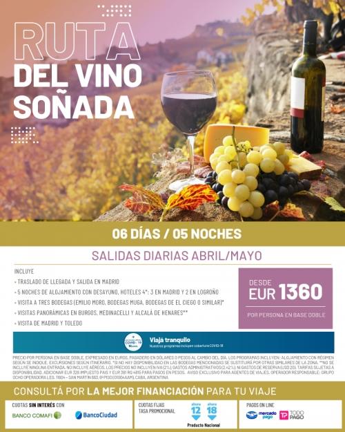 Ruta del Vino Soñada en España Abril / Mayo 2022