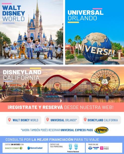 Disney & Universal Reservá On Line desde nuestra web